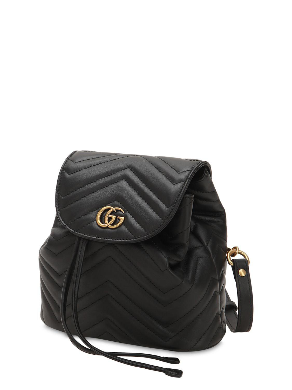 ca0cc43f0ae2 Gucci - Black Mini Gg Marmont Leather Backpack - Lyst. View fullscreen
