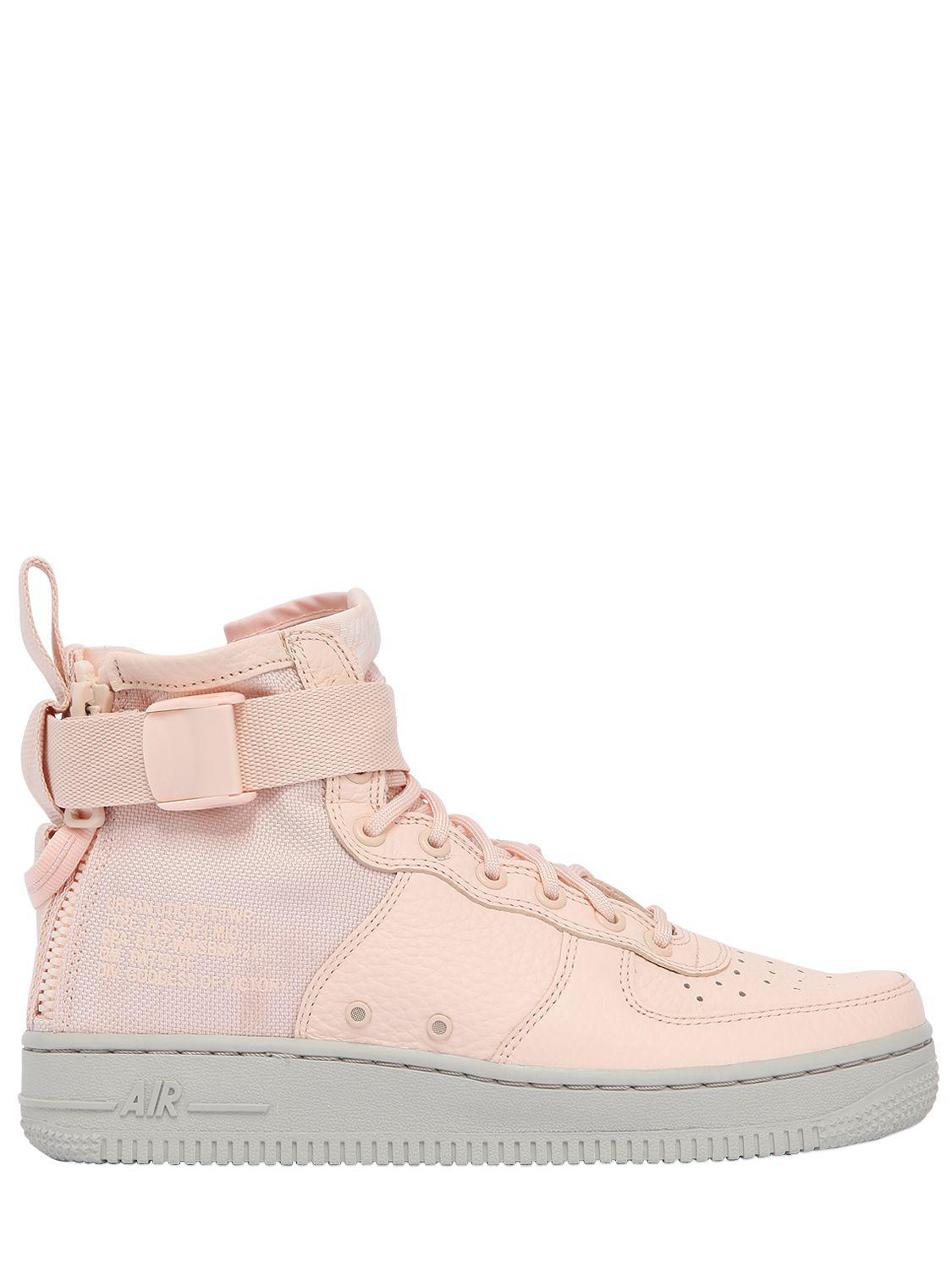 Nike Sf Air Force 1 Mid Top Sneakers in Pink - Save ... a346971da