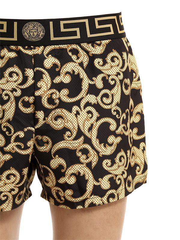b818bac8639b6 Versace Baroque Nylon Swim Shorts in Black for Men - Lyst