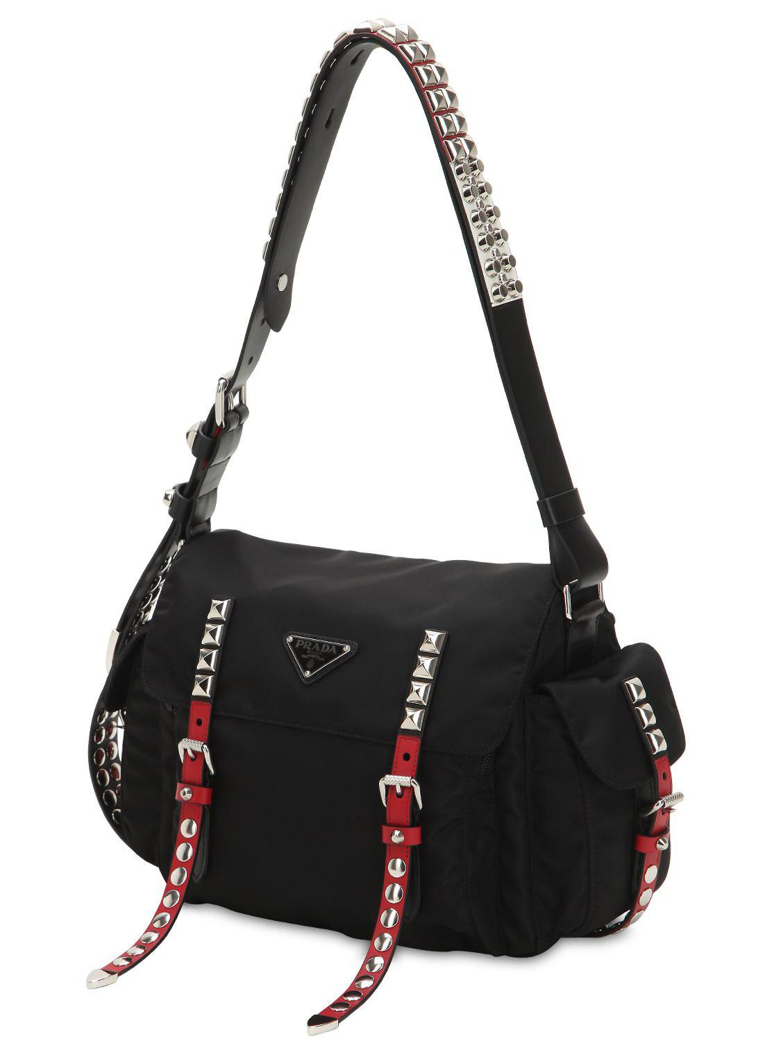 db05bc1c69d3 Prada - Black New Vela Nylon Bag W  Studs - Lyst. View fullscreen
