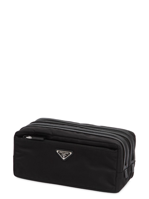 Prada - Black Dual Compartment Nylon Toiletry Bag for Men - Lyst. View  fullscreen c1c52129f2