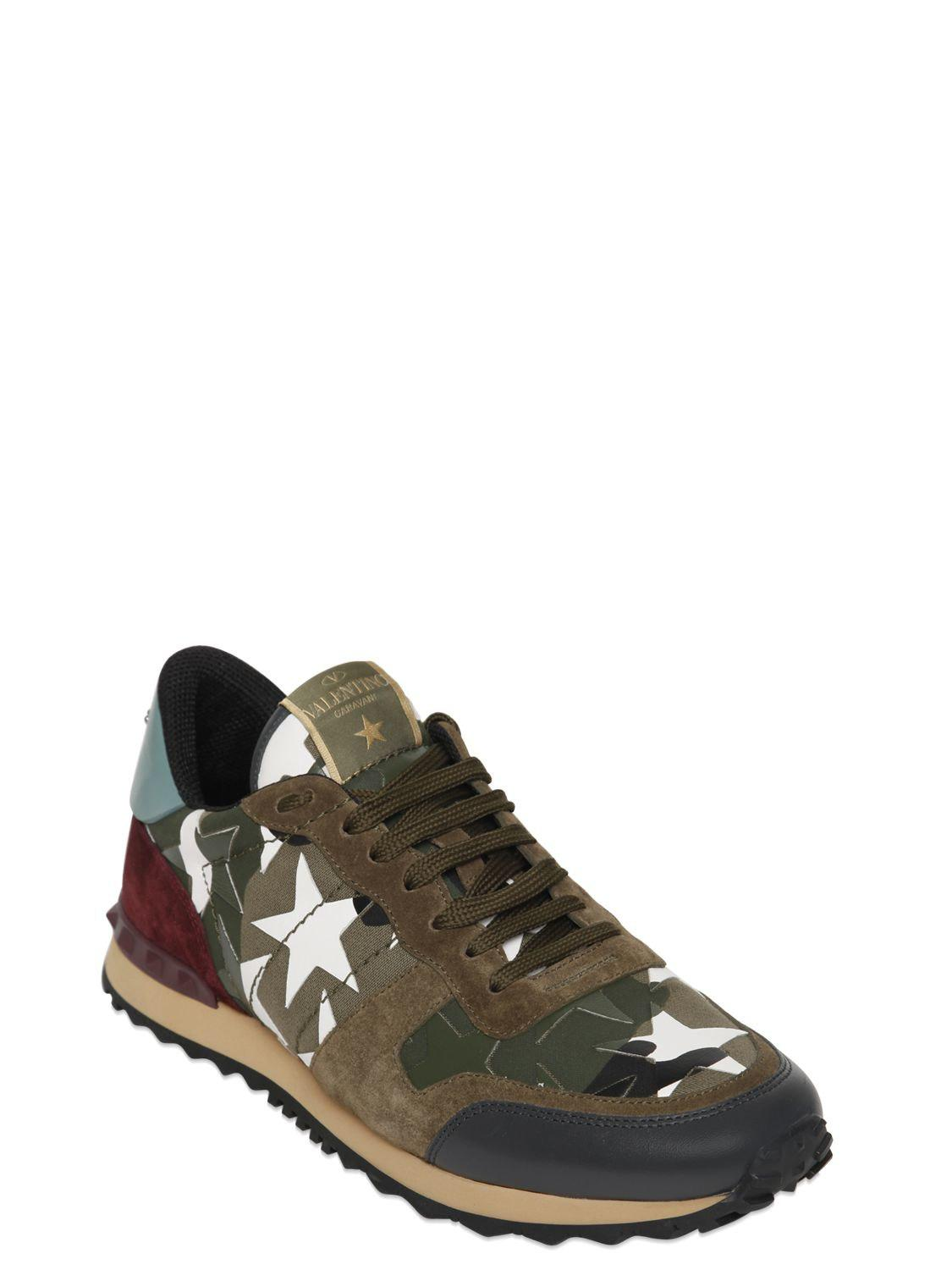 2af2d08901fc0 Valentino Rockrunner Camustars Canvas Sneakers in Green for Men - Lyst