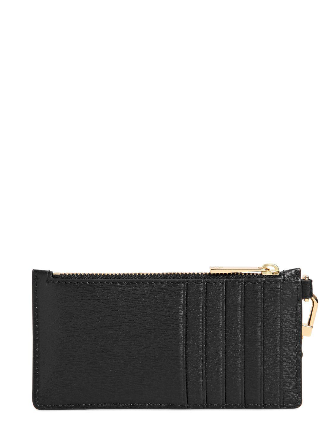 Lyst - Tory burch Parker Leather Zip Card Holder in Black