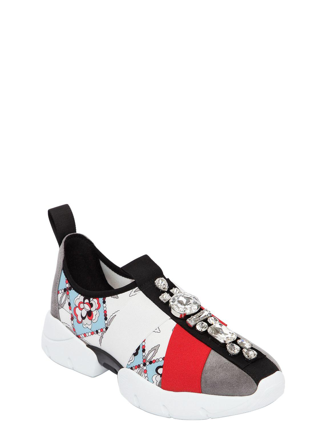 Emilio Pucci 30MM CRYSTALS SUEDE & NEOPRENE SNEAKERS Visit Online Q2jpUCS9AB