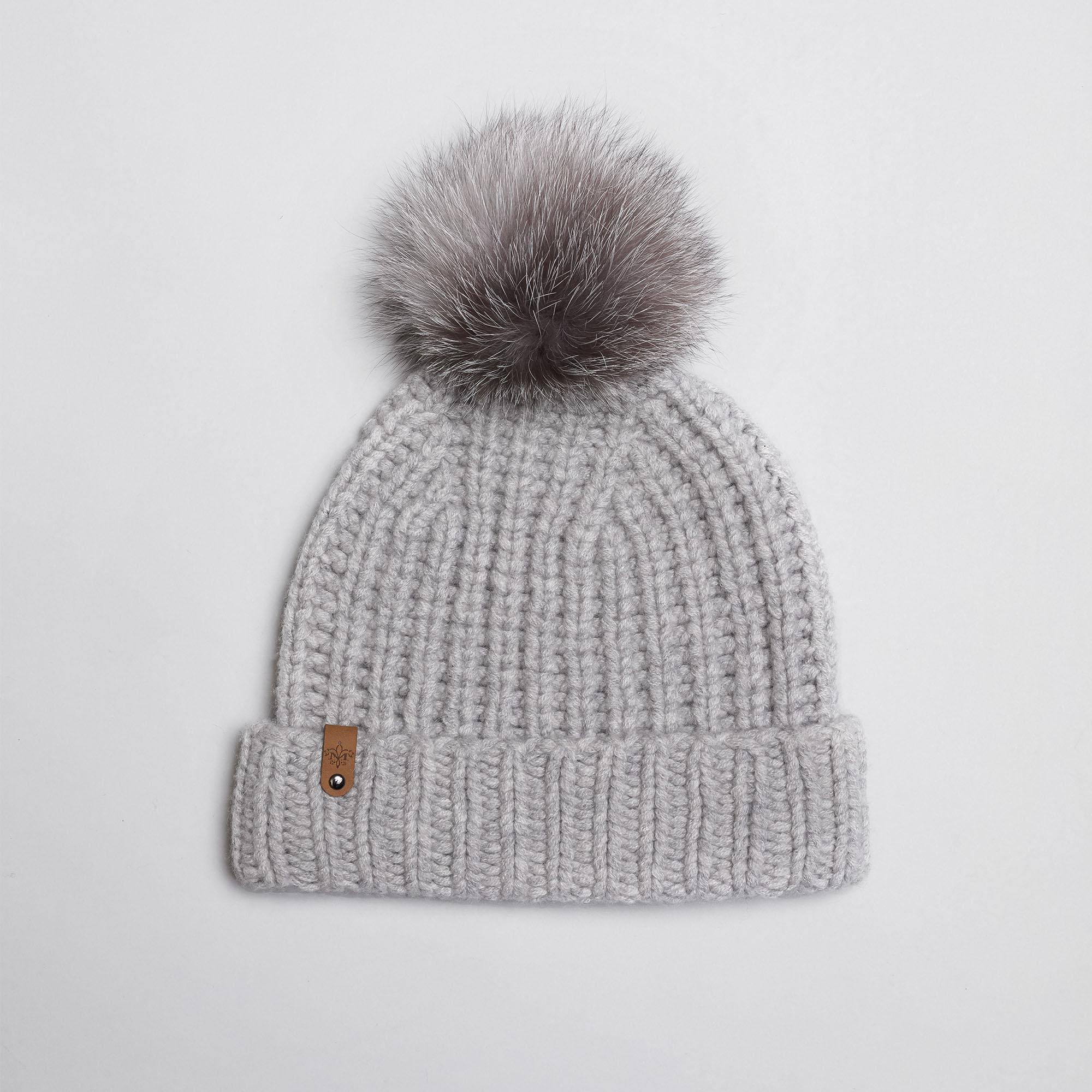 a7de356580729d Mackage Doris Cashmere Knit Hat With Fur Pompom - Light Grey - O/s ...