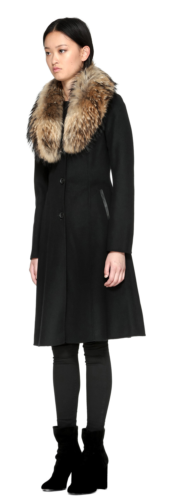 Lyst Mackage Emalina Flared Wool Coat With Fur Collar In