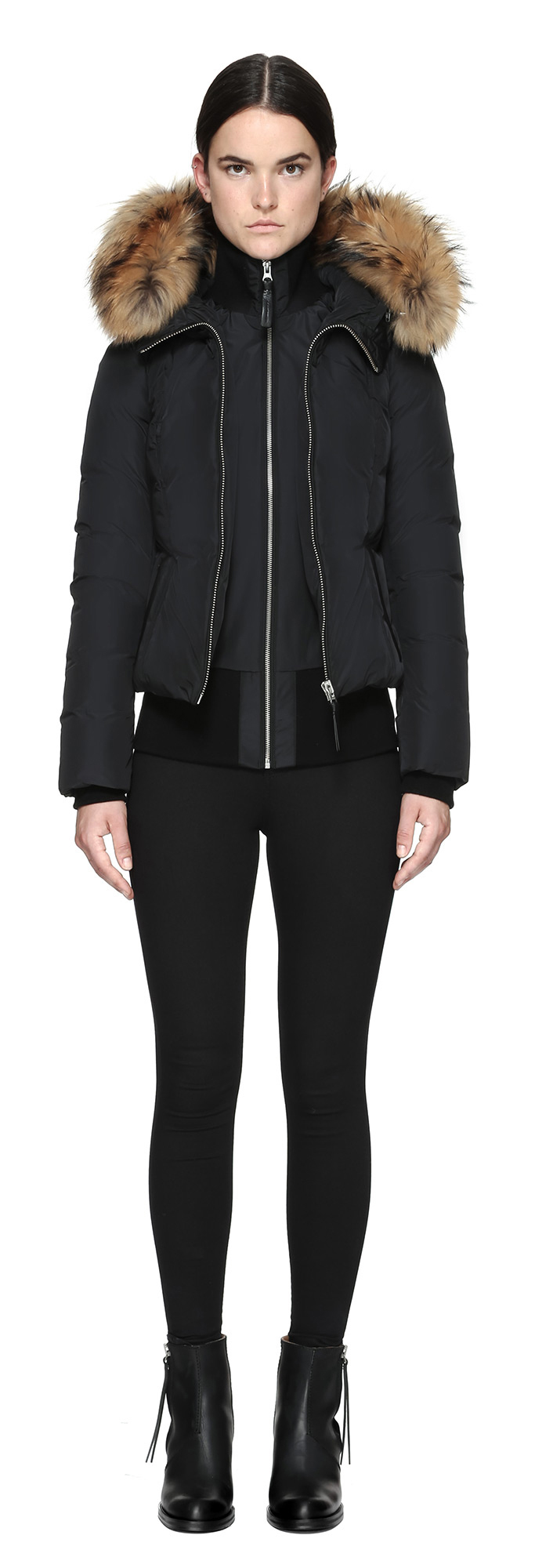 Lyst - Mackage Romane Bomber Cut Down Jacket With Natural ...