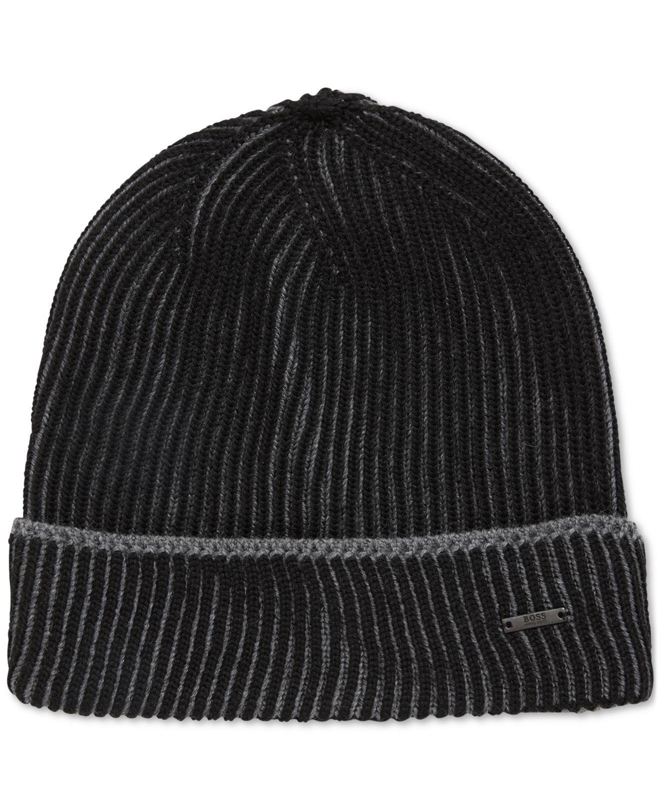 6623773035eff BOSS - Black Knitted Virgin Wool Beanie Hat for Men - Lyst. View fullscreen