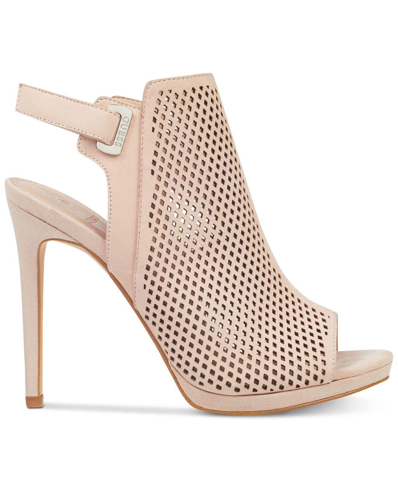 904d4cad9abc Lyst - Guess Aubria Perforated Dress Sandals in Pink