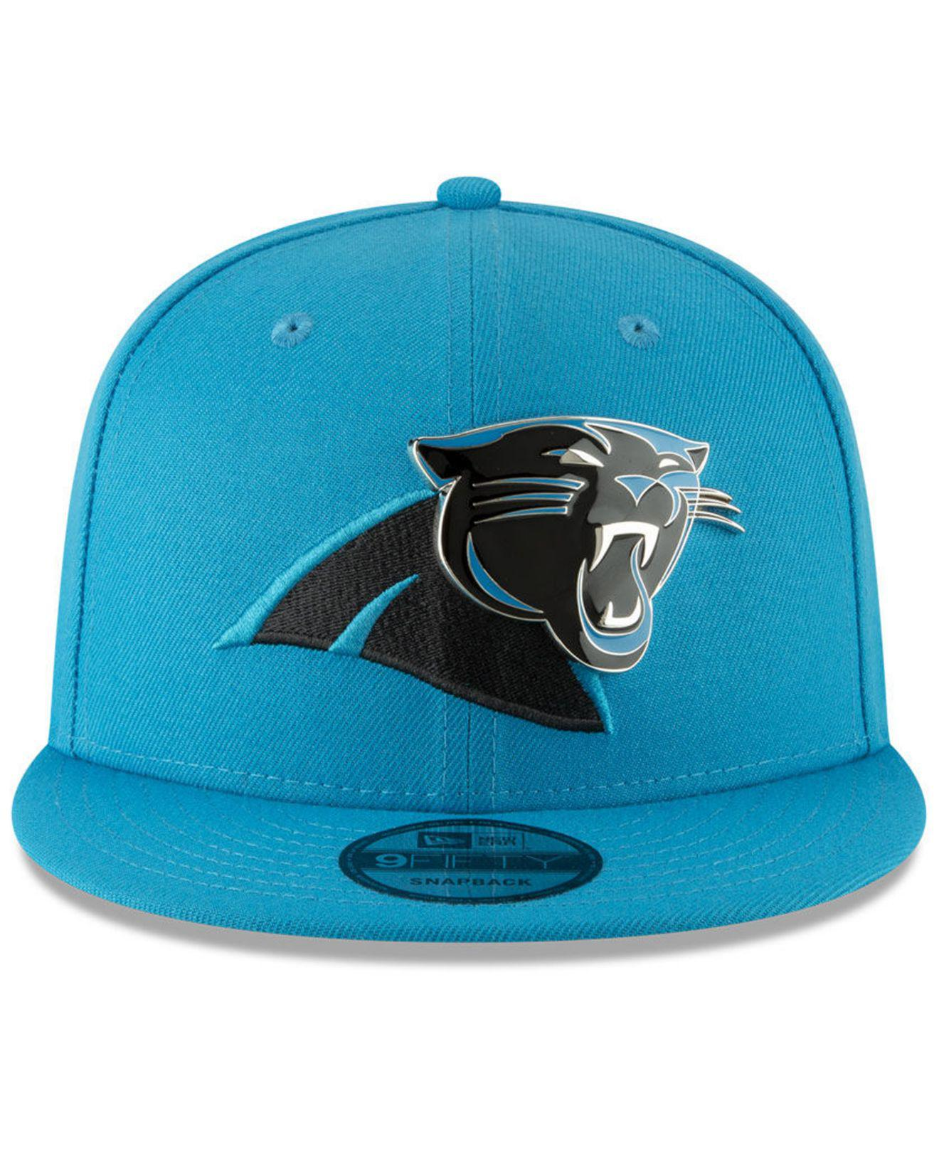 new style c5264 93946 ... canada ireland lyst ktz carolina panthers metal thread 9fifty snapback  cap in blue for men 12718
