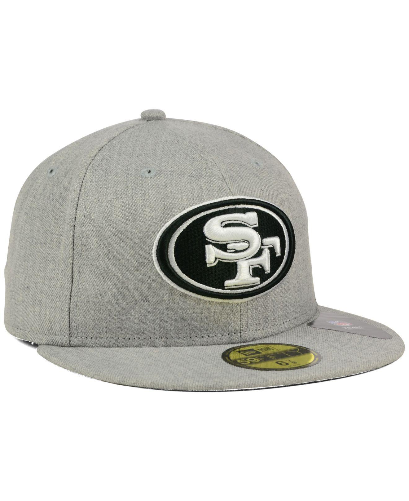 innovative design 3ad1e 7861d ... San Francisco 49ers Heather Black White 59fifty Cap for Men - Lyst.  View fullscreen