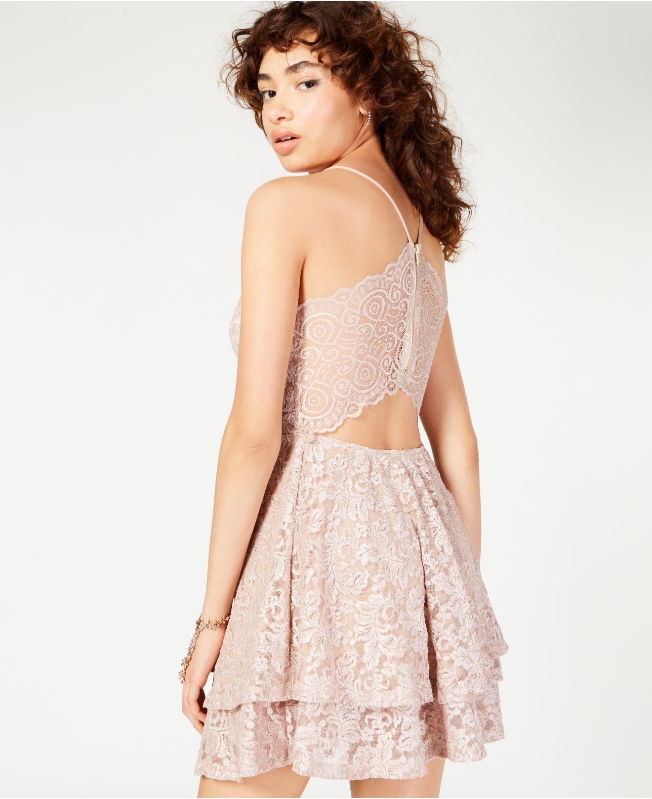 0baacd49 Emerald Sundae - Pink Juniors' Glitter Lace Racerback Dress - Lyst. View  fullscreen