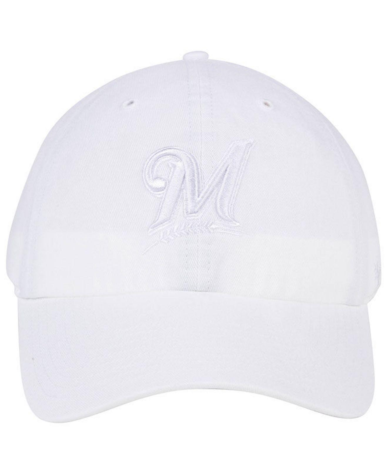 on sale a3d30 6b860 47 Brand Milwaukee Brewers White white Clean Up Cap in White for Men - Lyst