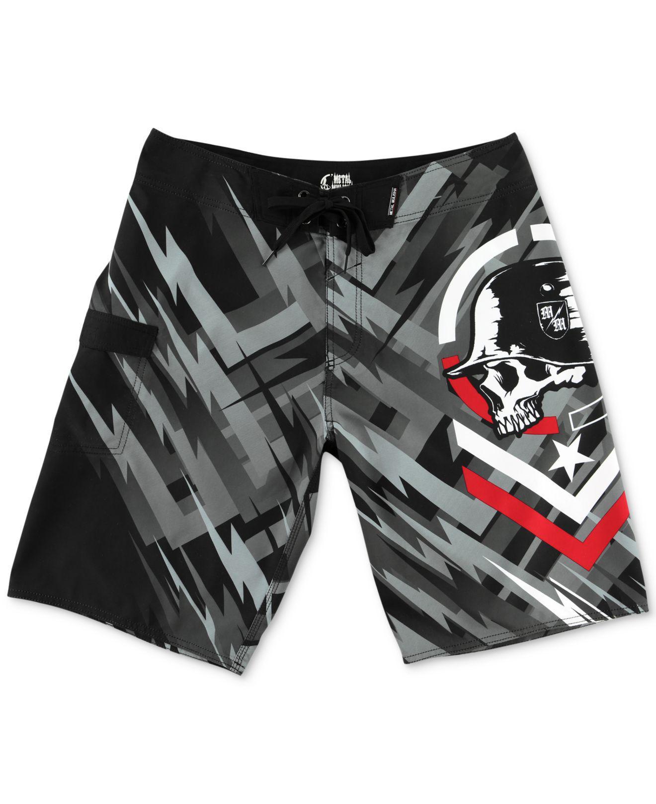 068e487fb6aa8 Metal Mulisha Men's Spark Graphic-print Logo Boardshorts in Black ...