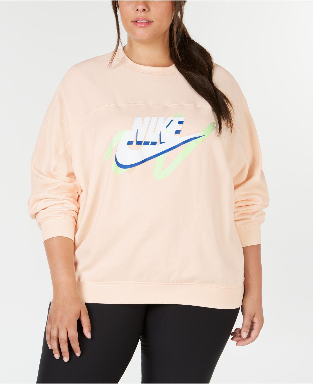 3ce16d81caf Lyst - Nike Plus Size Sportswear Logo Sweatshirt in Pink