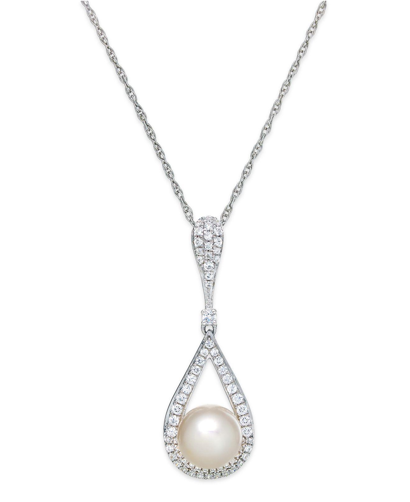lyst macy s cultured freshwater pearl 8mm and diamond 1 3 ct