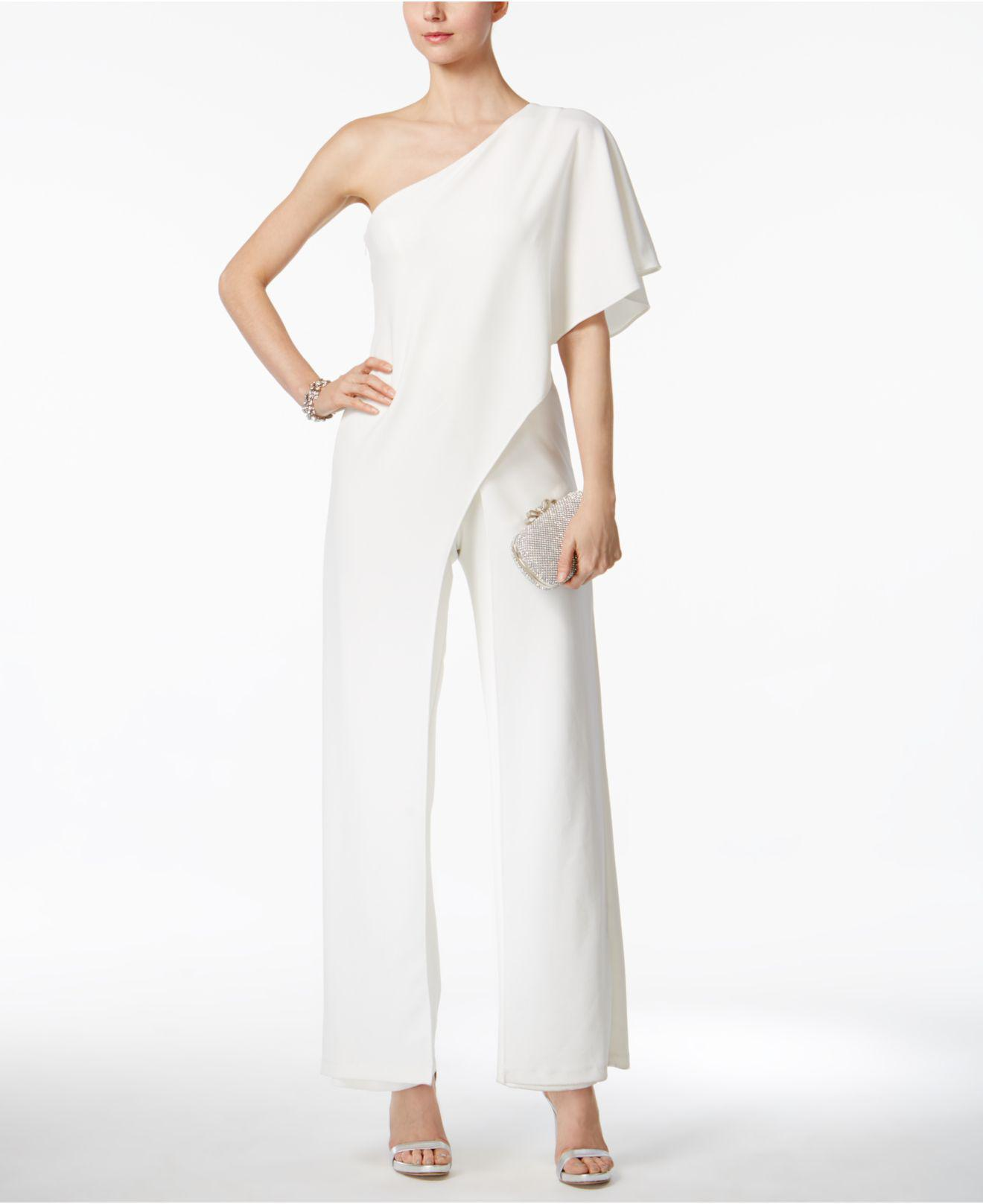 20d4bec0b0c Lyst - Adrianna Papell Petite Draped One-shoulder Jumpsuit in White