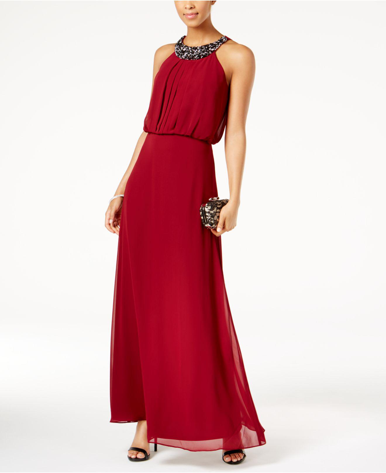 8dc400b6f5 Lyst - Nine West Embellished Maxi Dress in Red