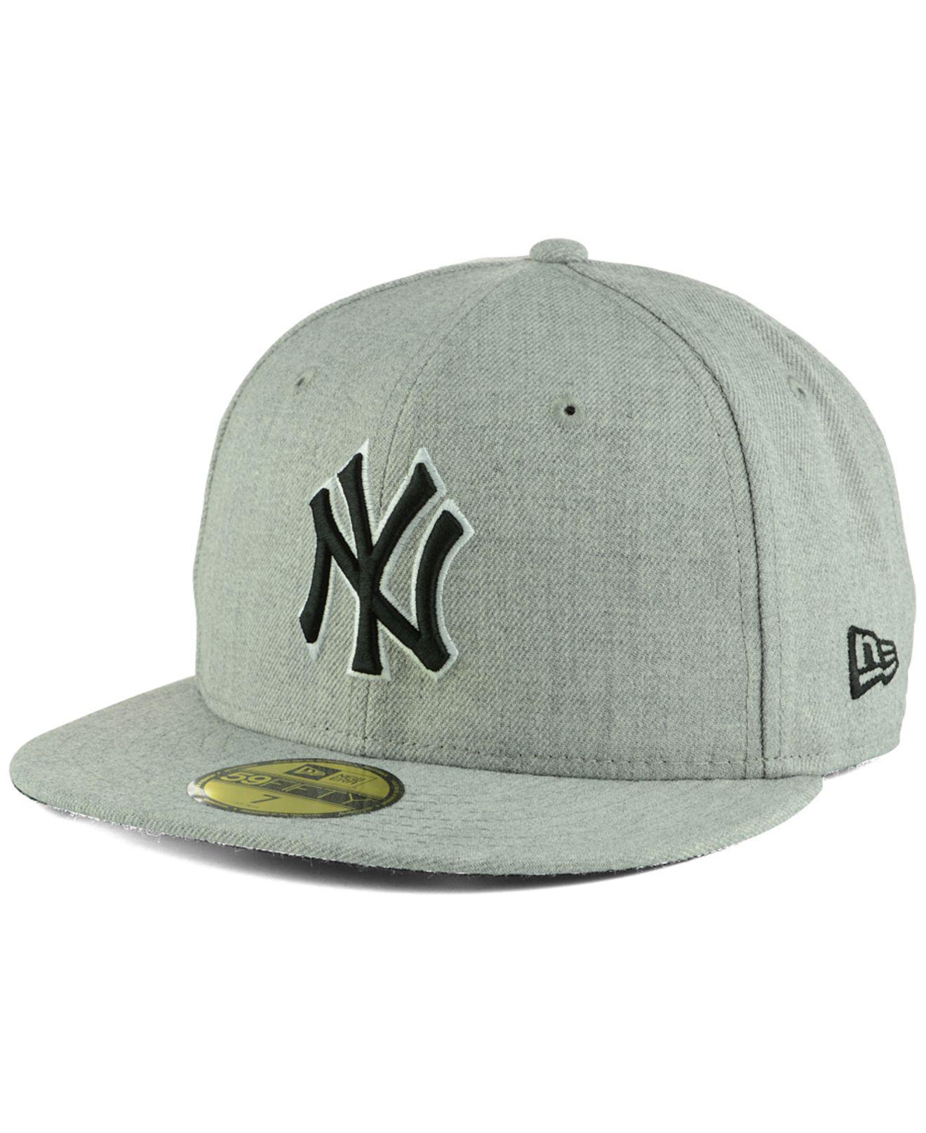 b1f42252819bcc Lyst - KTZ New York Yankees Heather Black White 59fifty Cap in Gray ...