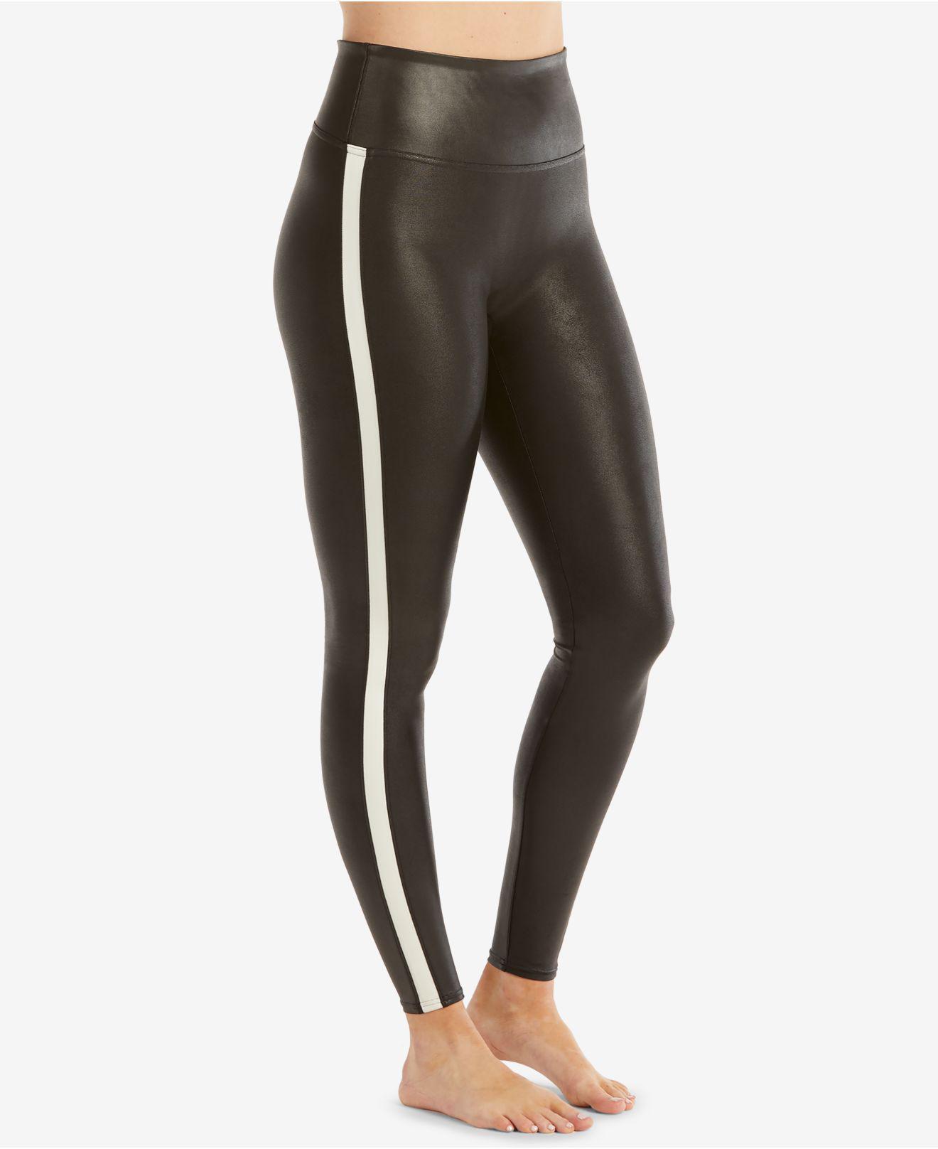 d19acab003498 Spanx Faux Leather Side Stripe Leggings in Black - Lyst