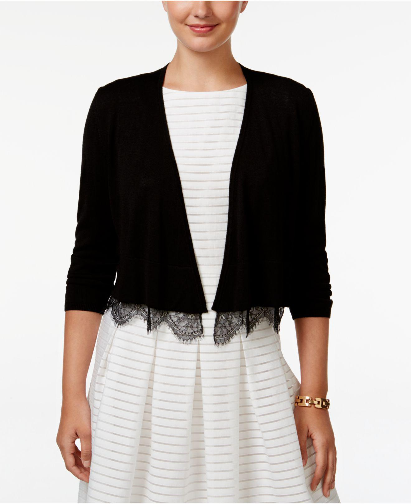 Tommy hilfiger Lace-trim Cropped Cardigan in Black | Lyst