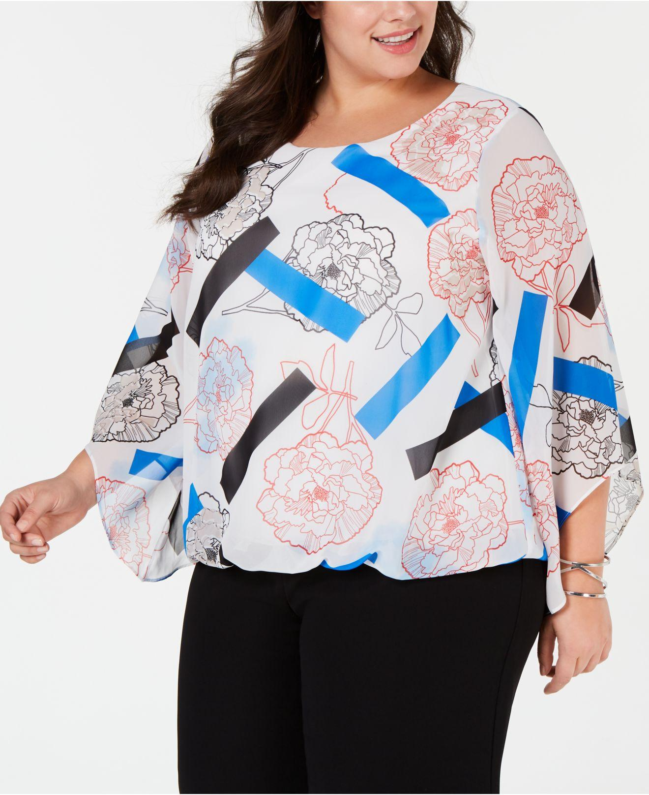 8169228af4cf59 Lyst - Alfani Plus Size Printed Angel-sleeve Bubble Top, Created For ...
