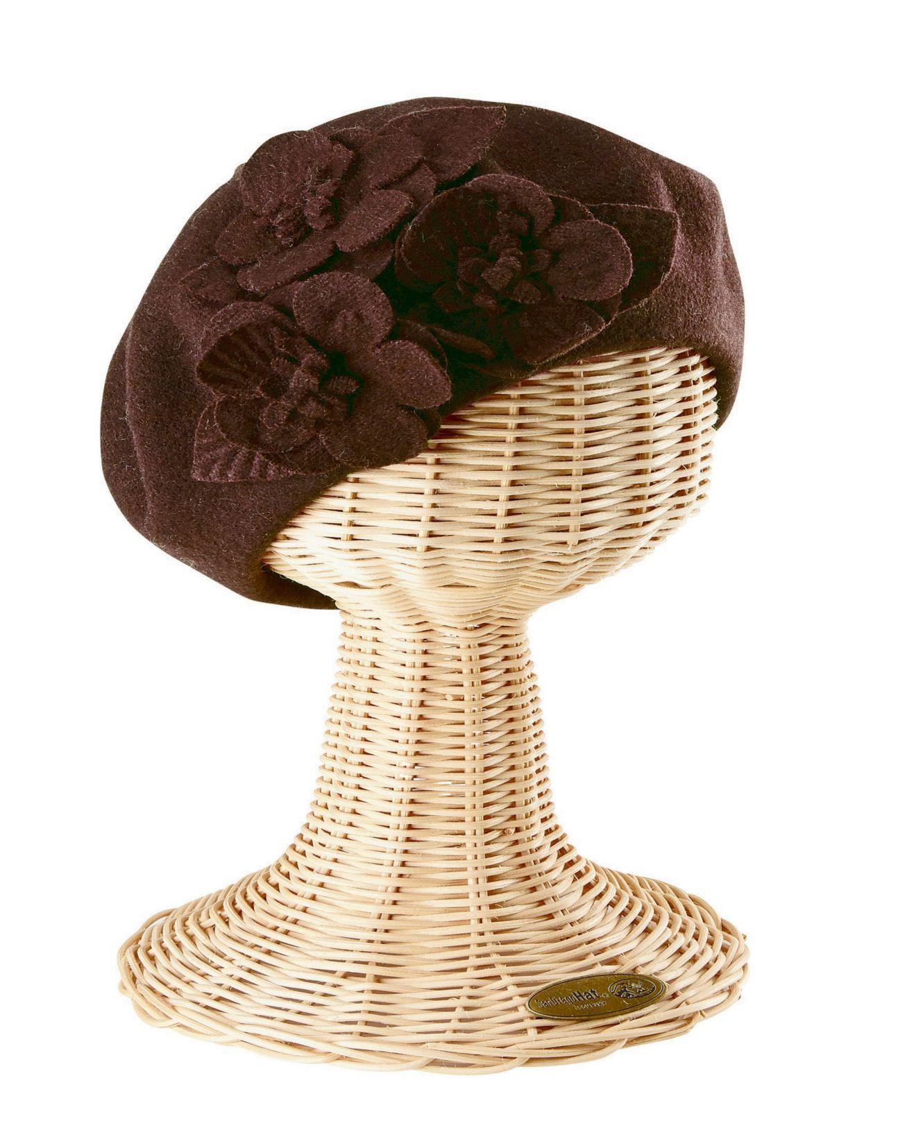 90738e650fe1d Lyst - San Diego Hat Company Wool Beret With Flowers in Brown