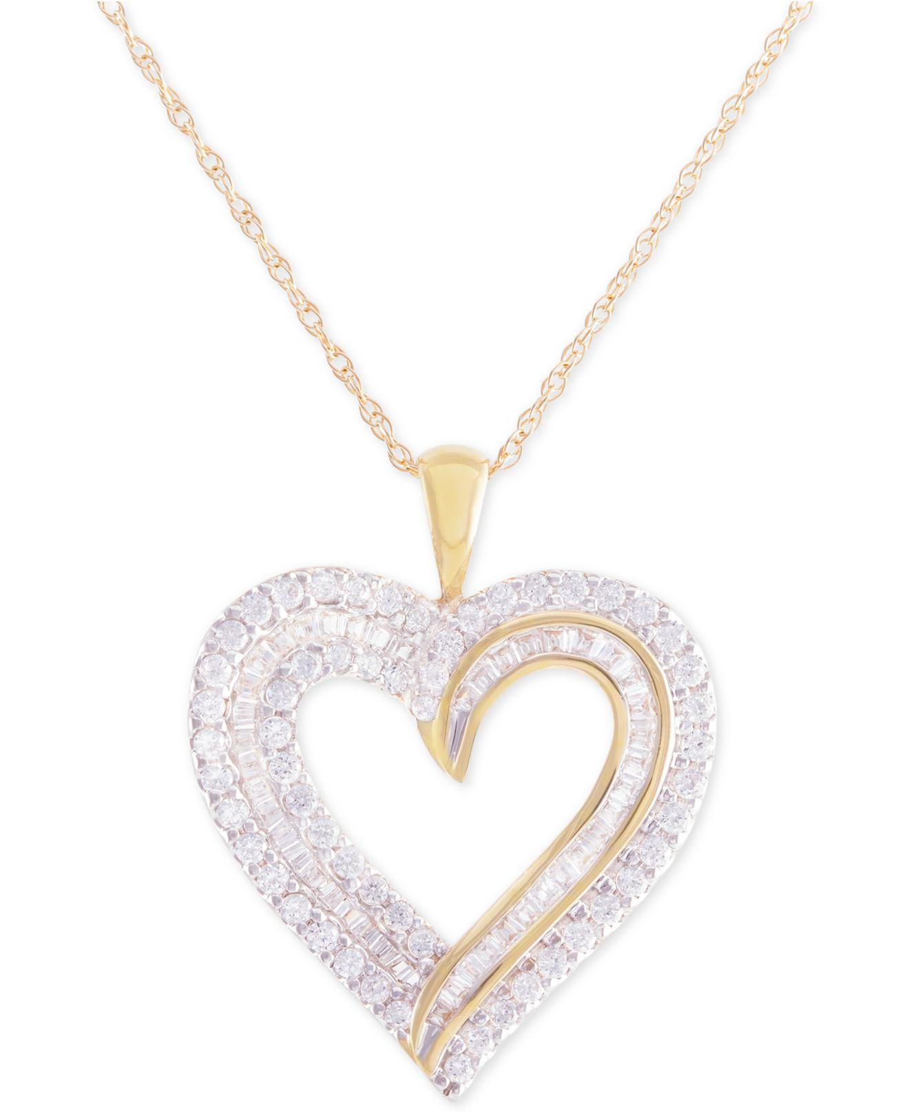 Lyst macys diamond heart pendant necklace 1 ct tw in 10k macys womens metallic diamond heart pendant mozeypictures Image collections