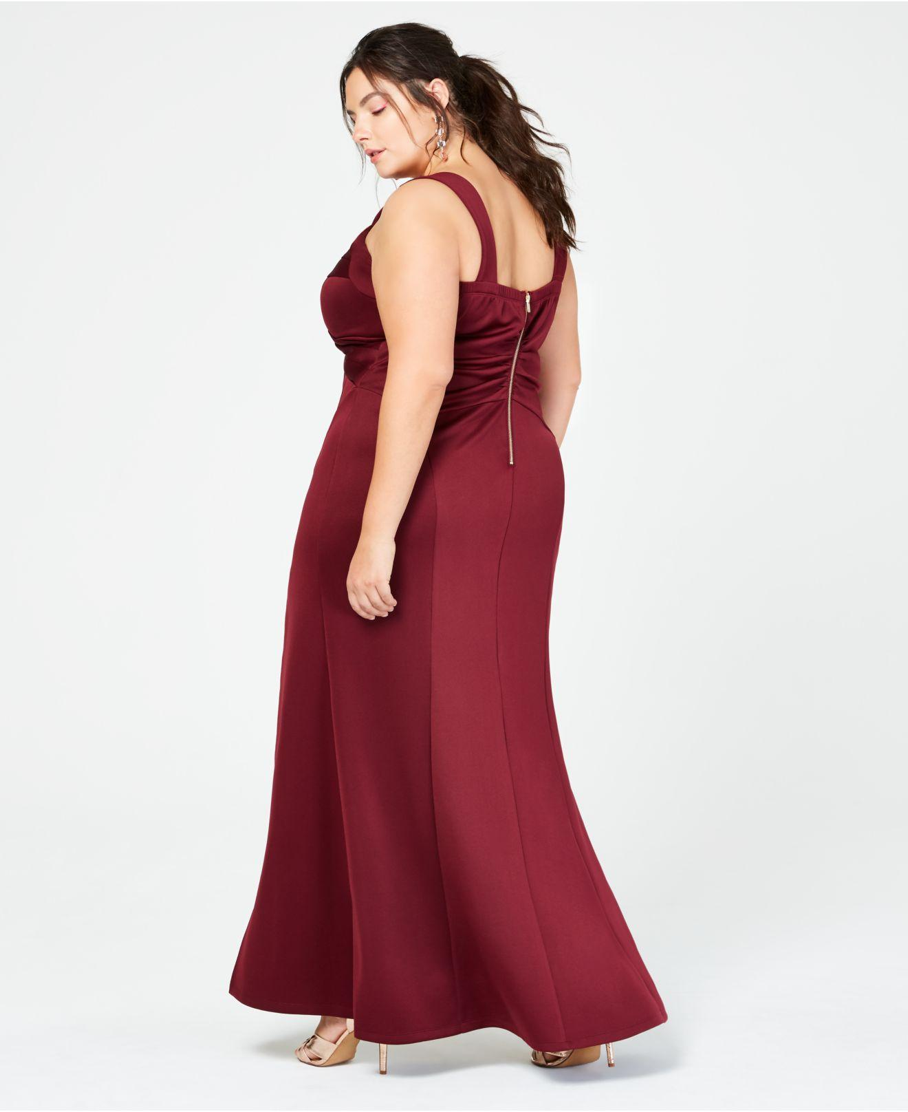 1042dccbfc3 Lyst - Emerald Sundae Trendy Plus Size Crossover Scuba Gown in Red