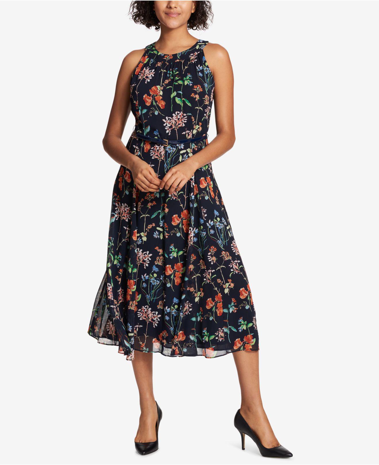 0045de8aa06 Tommy Hilfiger Belted Floral-print Midi Dress in Blue - Lyst