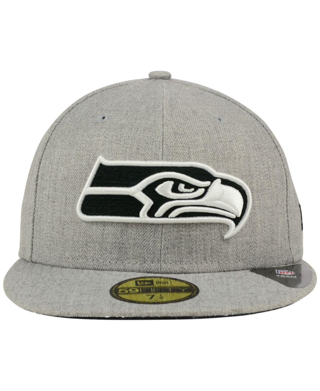 Lyst - KTZ Seattle Seahawks Heather Black White 59fifty Cap in Gray for Men c6e46d42a