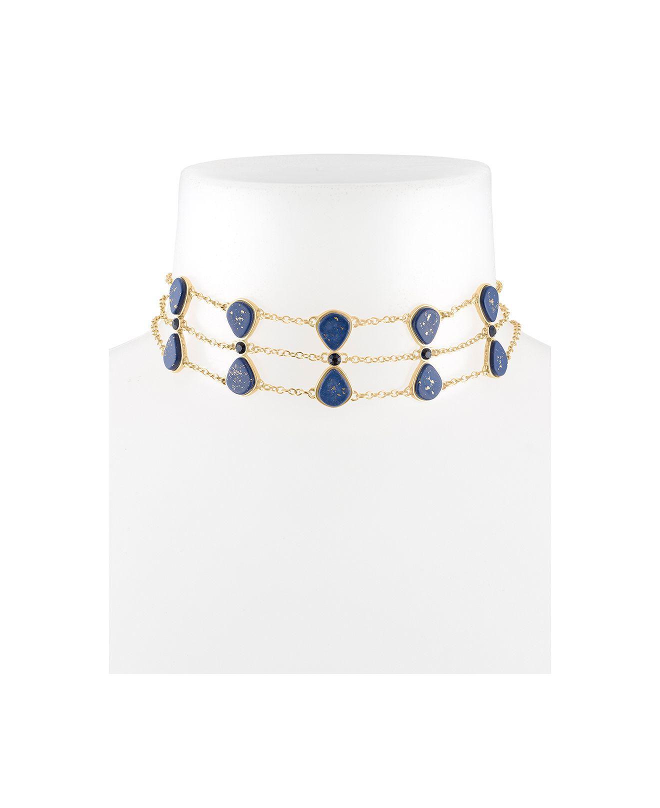 25397d436b549 Lyst - RACHEL Rachel Roy Gold-tone Crystal & Stone Triple-row Choker ...