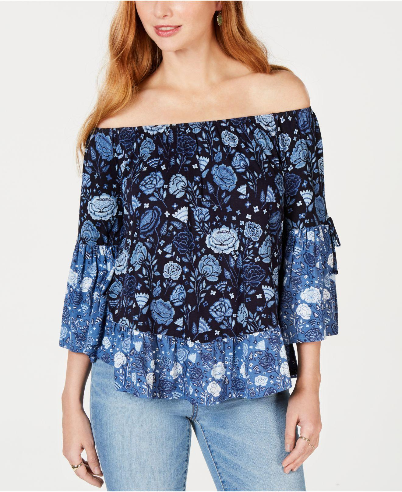 5a08824191b50a Style   Co. Women s Blue Printed Off-the-shoulder Top ...