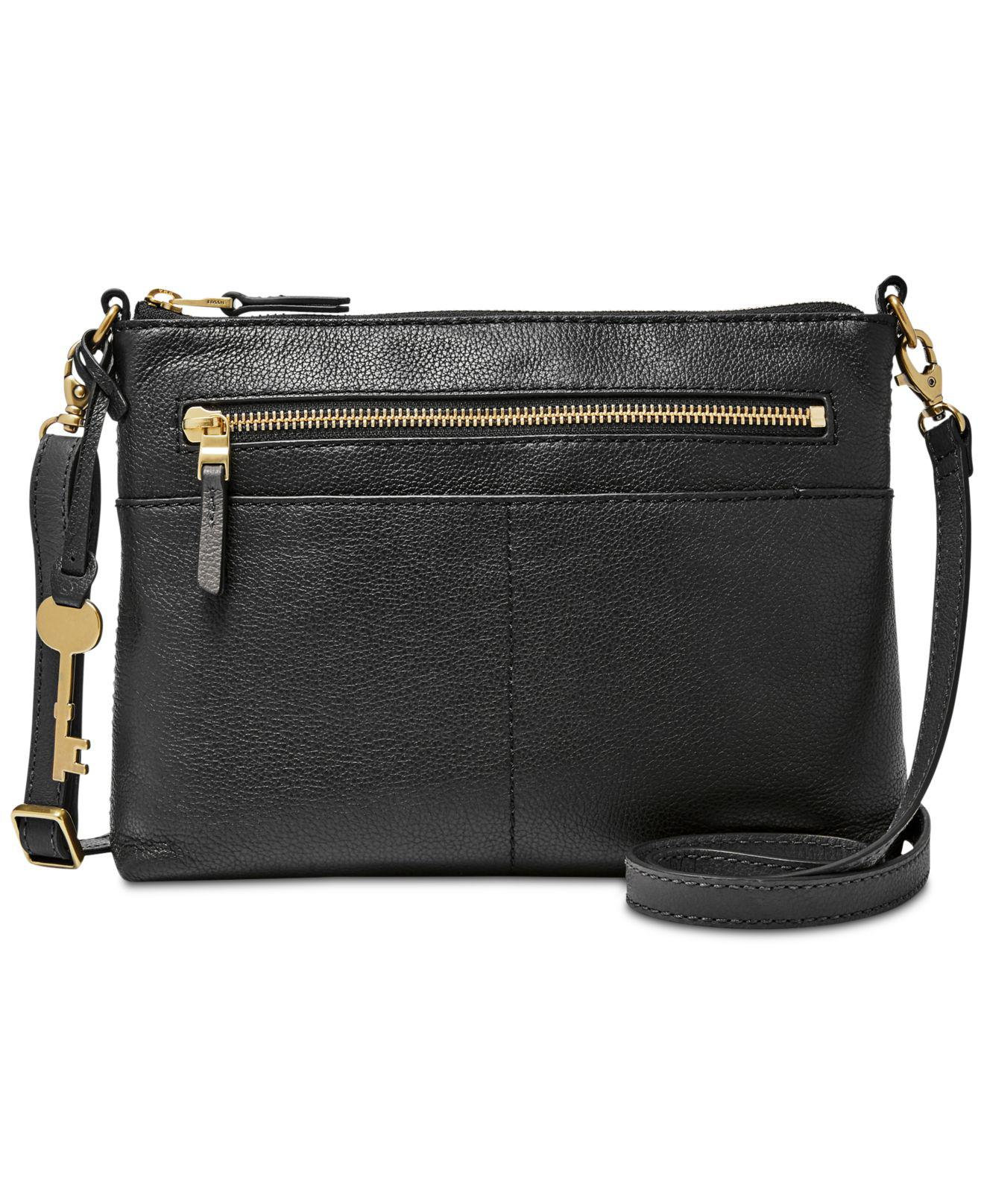 bf1b4f1aa5df Lyst - Fossil Fiona Small Leather Crossbody in Black - Save 9%