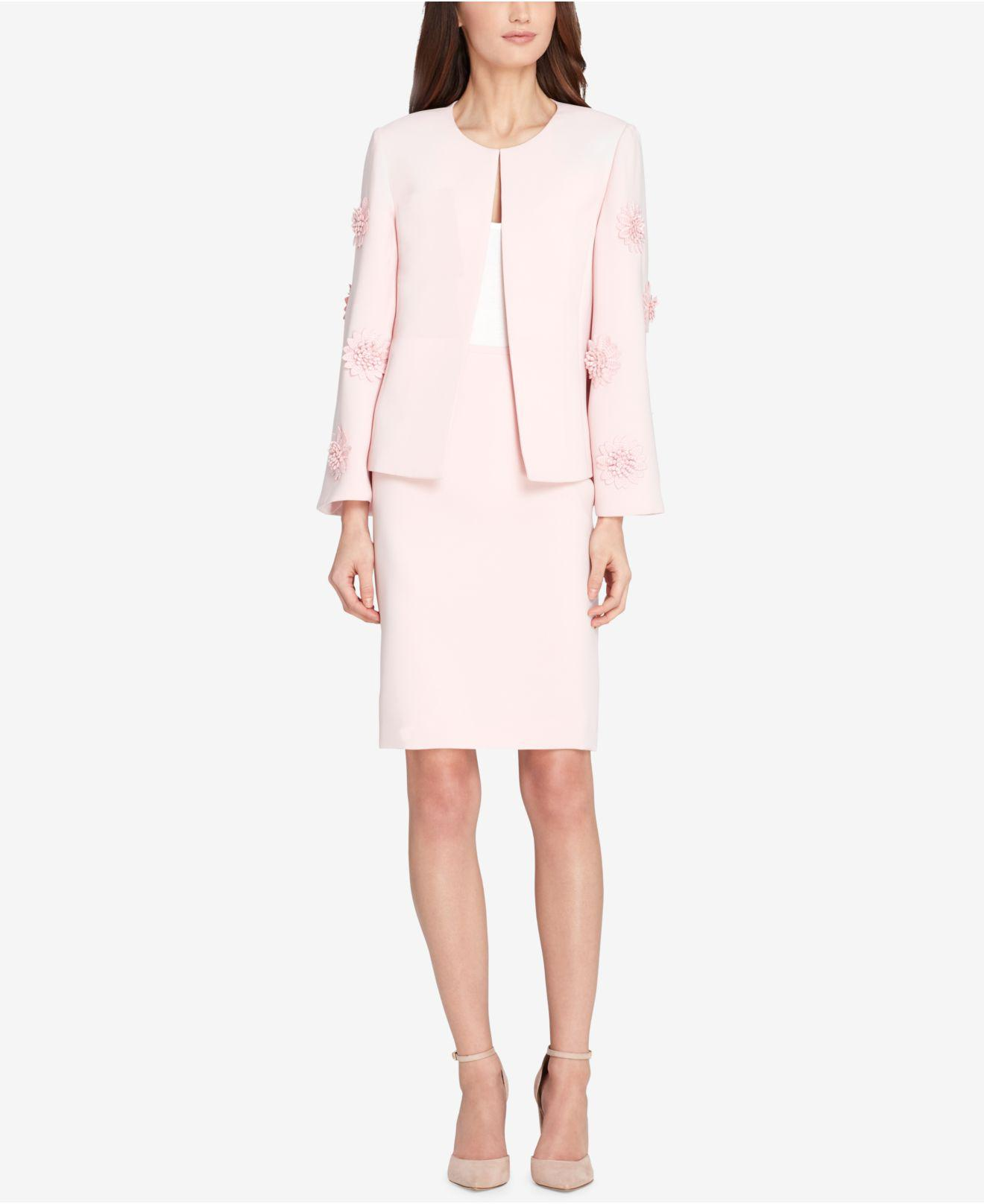 fc08ab0cdeab Lyst - Tahari Roundneck Bell Sleeve Jacket And Skirt Suit in Pink