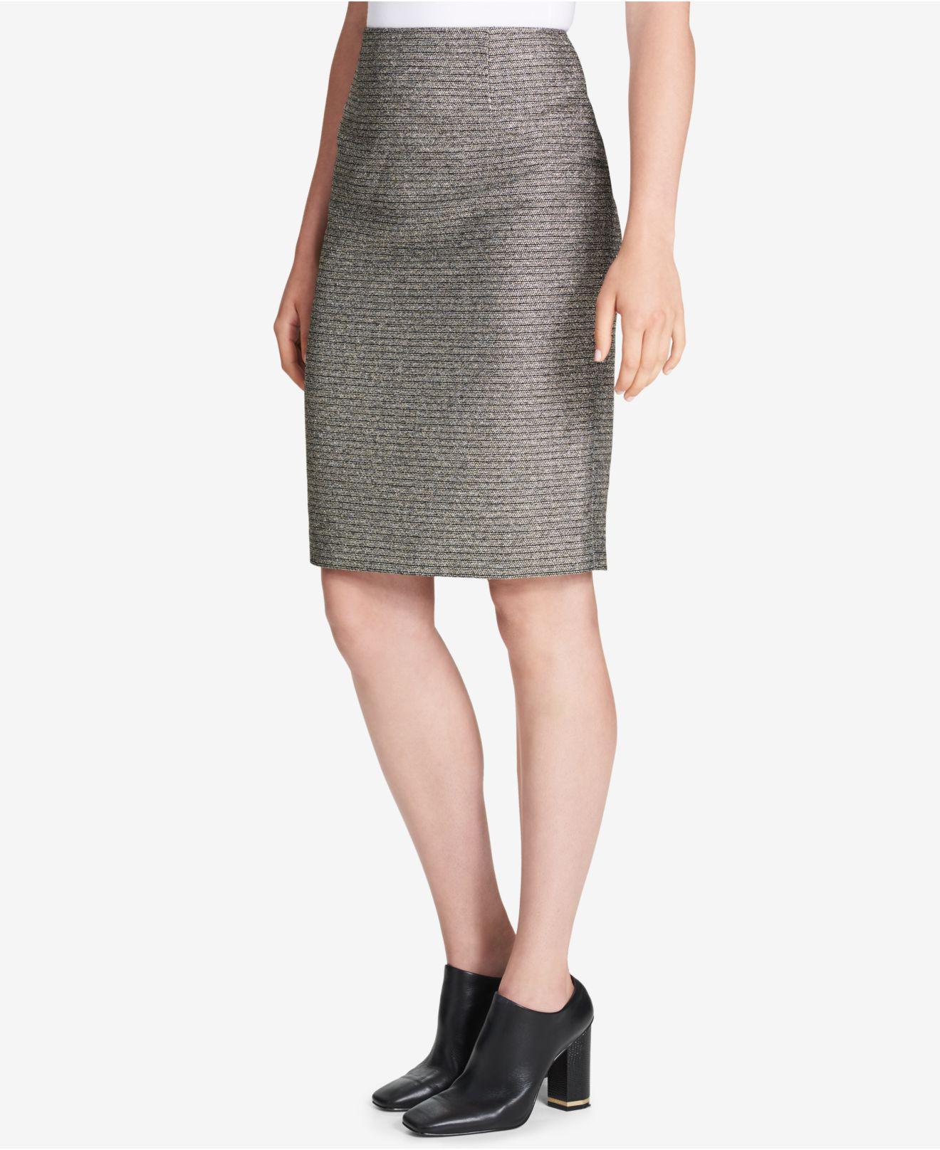 1adb02ccd9 Calvin Klein - Multicolor Metallic Bouclé Pencil Skirt - Lyst