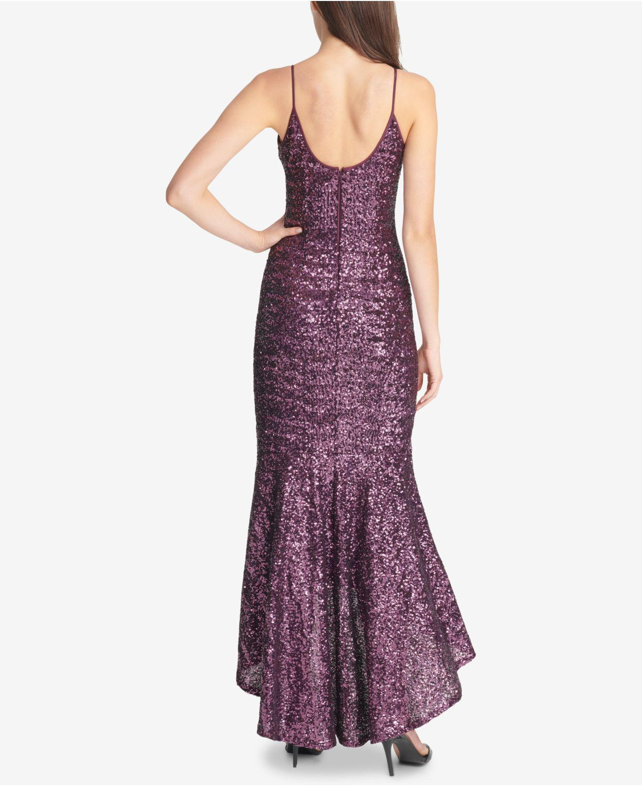 4d261d7d Vince Camuto High/low Sequin Gown in Purple - Lyst