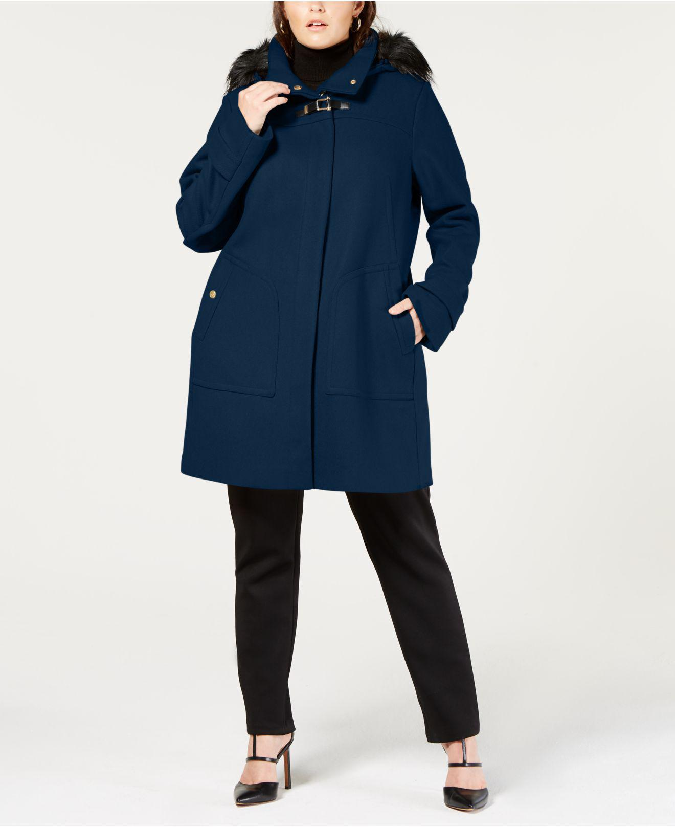 6b9ed965be92d Lyst - Cole Haan Plus Size Faux Fur Hooded Wool Toggle Coat in Blue