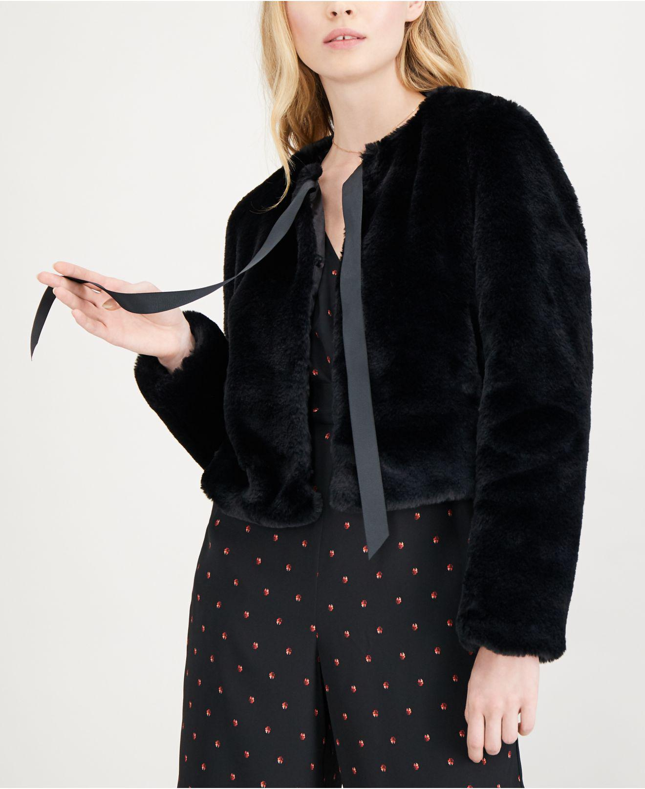 6073f7bb48ce Maison Jules Tie-neck Faux-fur Jacket, Created For Macy's in Black ...