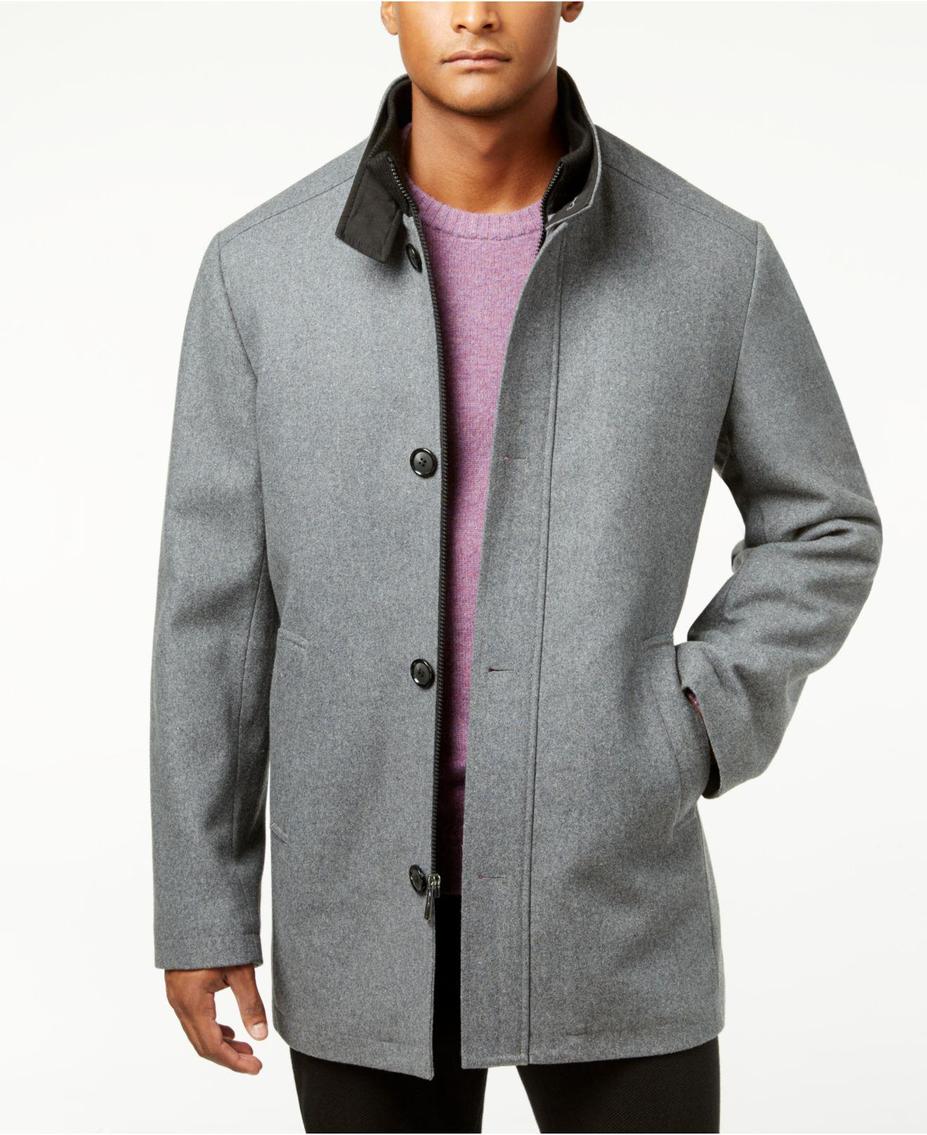 b402a3c06885 Kenneth Cole Single-breasted Charcoal Solid Car Coat in Gray for Men ...