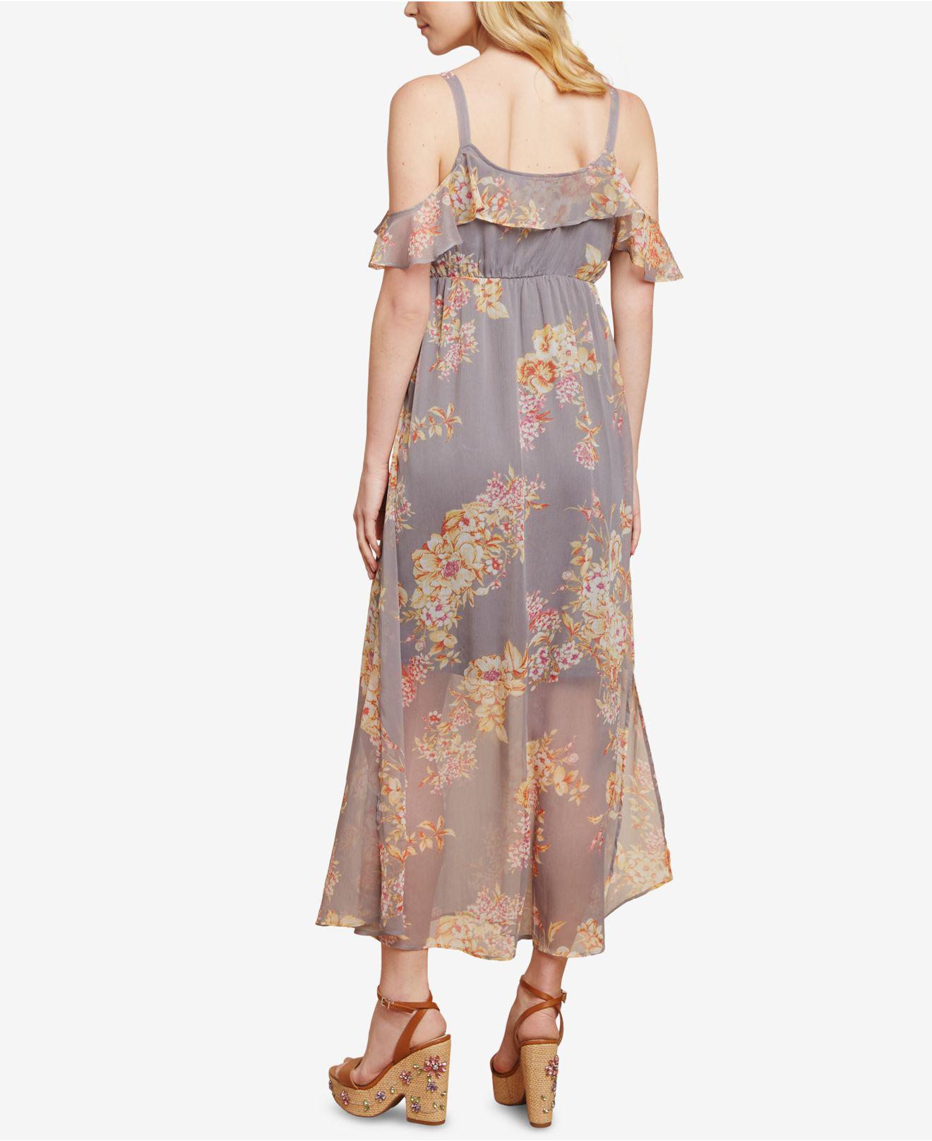 723d941f0b741 Jessica Simpson Sleeveless Ruffled Maternity Maxi Dress in Gray - Lyst