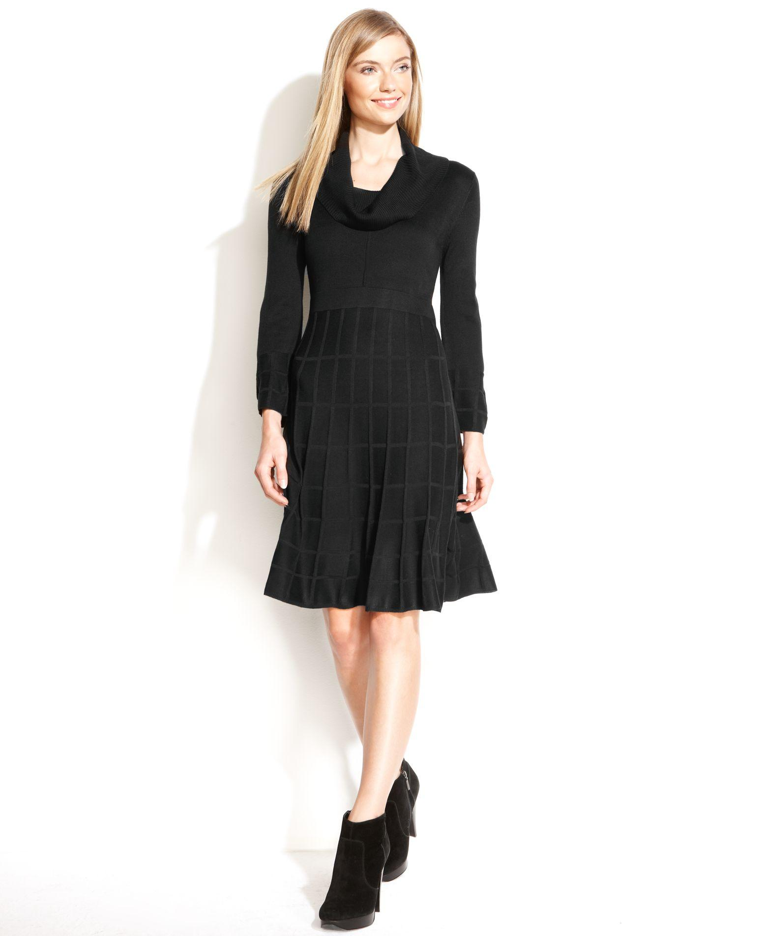 Lyst Calvin Klein Cowl Neck Sweater Dress In Black