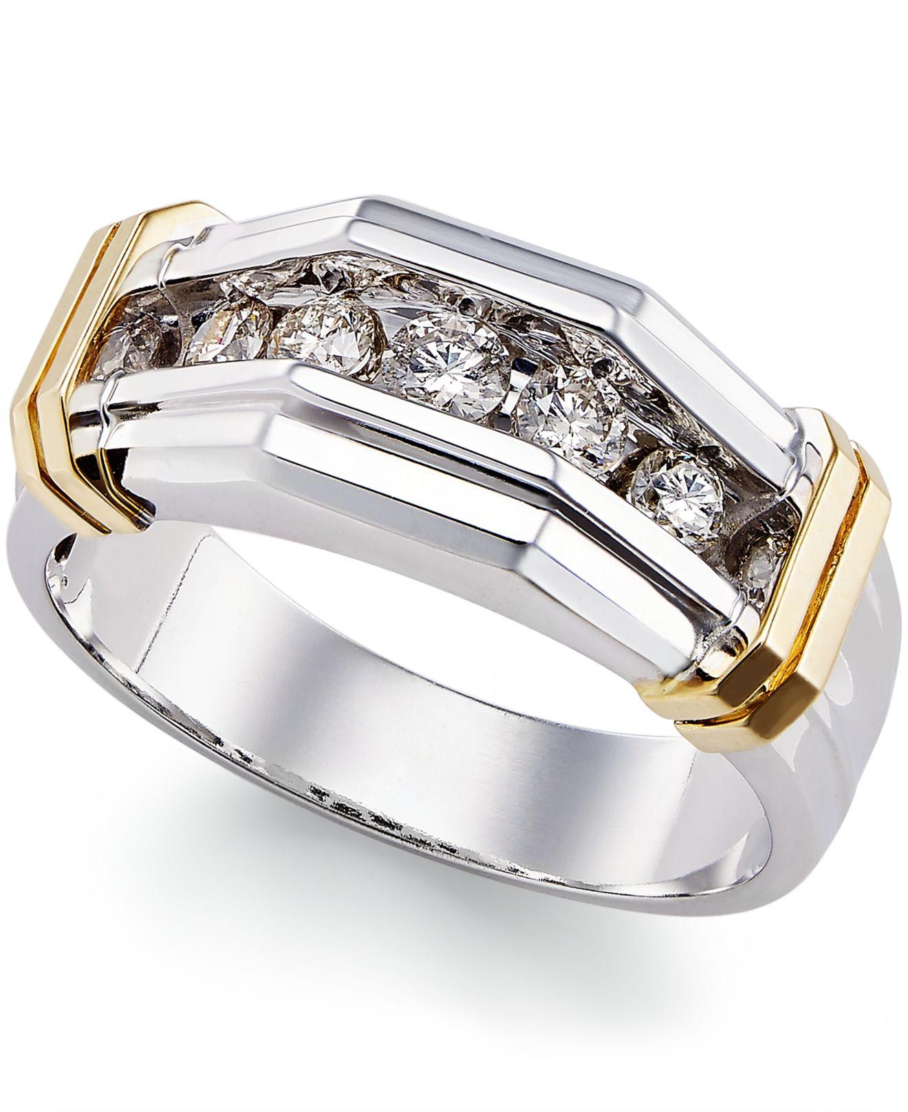 Lyst Macy S Men S Diamond 1 2 Ct T W Ring In 10k