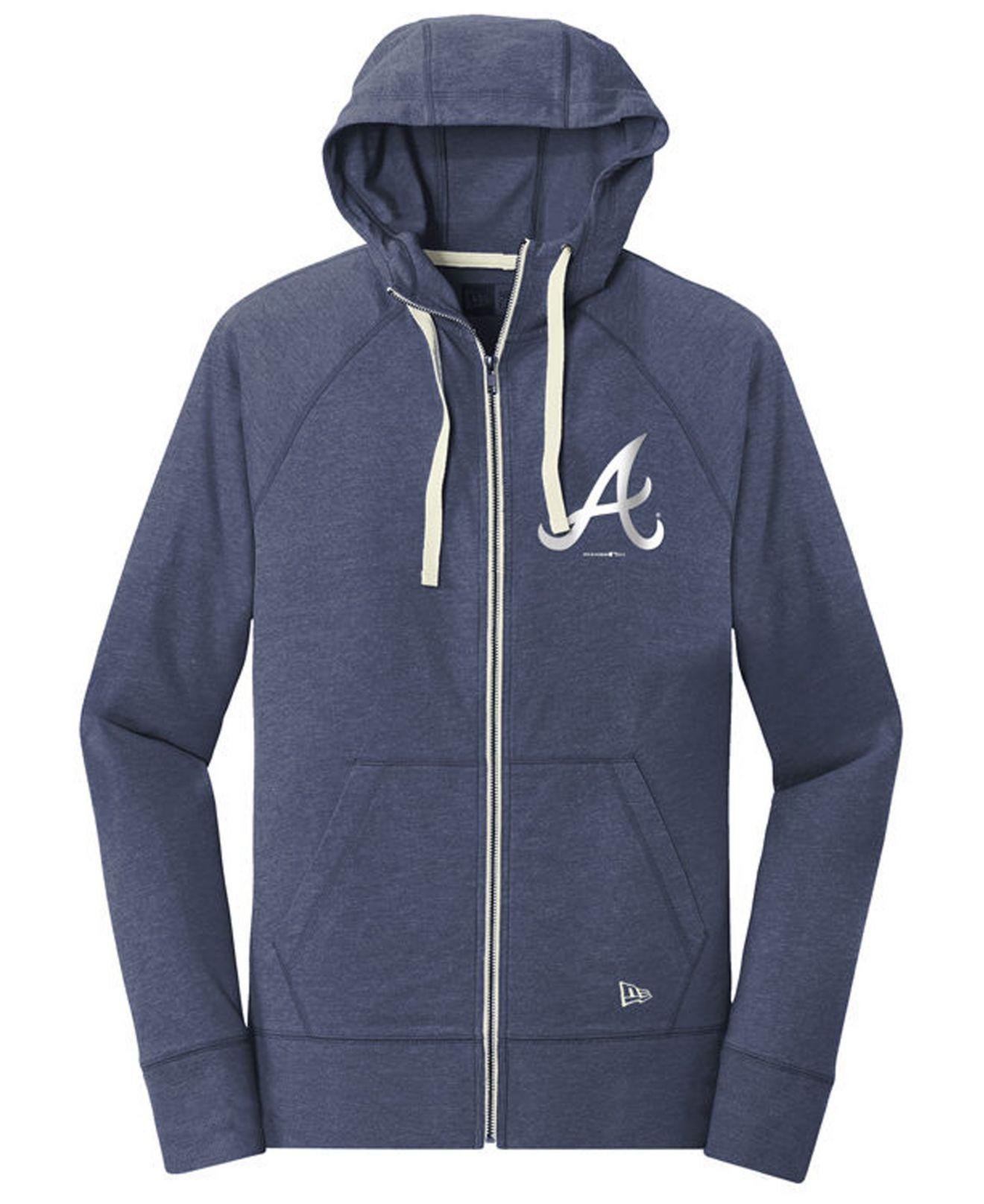 super popular 75e65 0933e Women's Blue Atlanta Braves Triblend Fleece Full-zip Sweatshirt