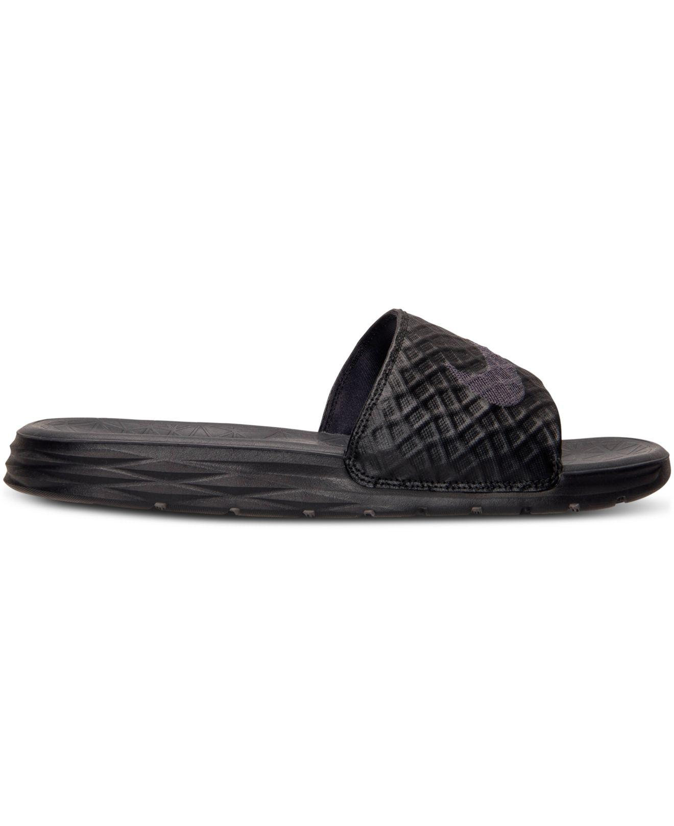 c7ec53c9ef67 Lyst - Nike Benassi Solarsoft Black  Anthracite in Black for Men - Save 28%