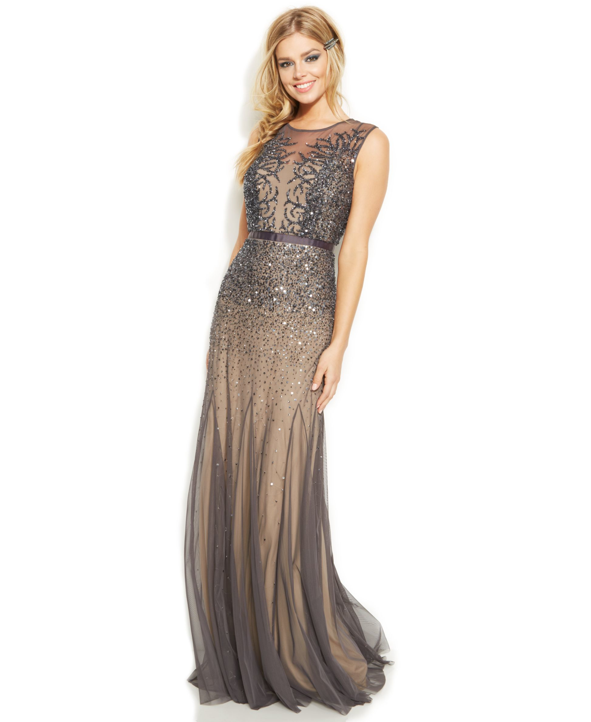 Lyst - Adrianna Papell Beaded Illusion Mermaid Gown in Metallic