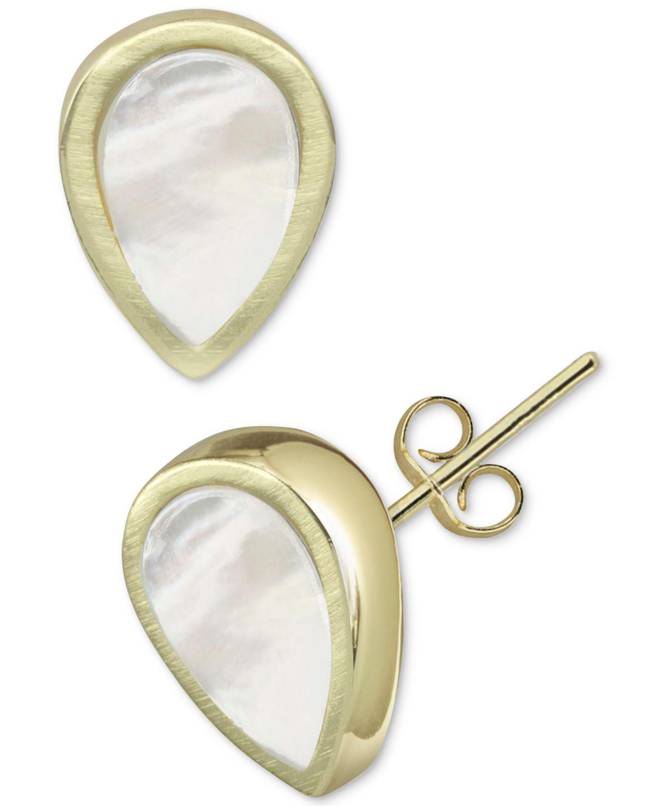 384cc6d47 Argento Vivo. Women's Metallic Mother-of-pearl Teardrop Stud Earrings In  Gold-plated Sterling Silver