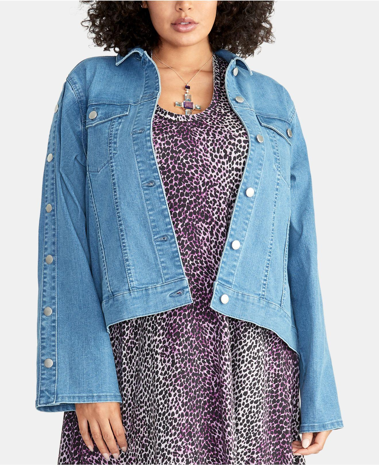 0d75b122ef5cc RACHEL Rachel Roy - Blue Plus Size Bobbi Snap-sleeve Denim Jacket - Lyst