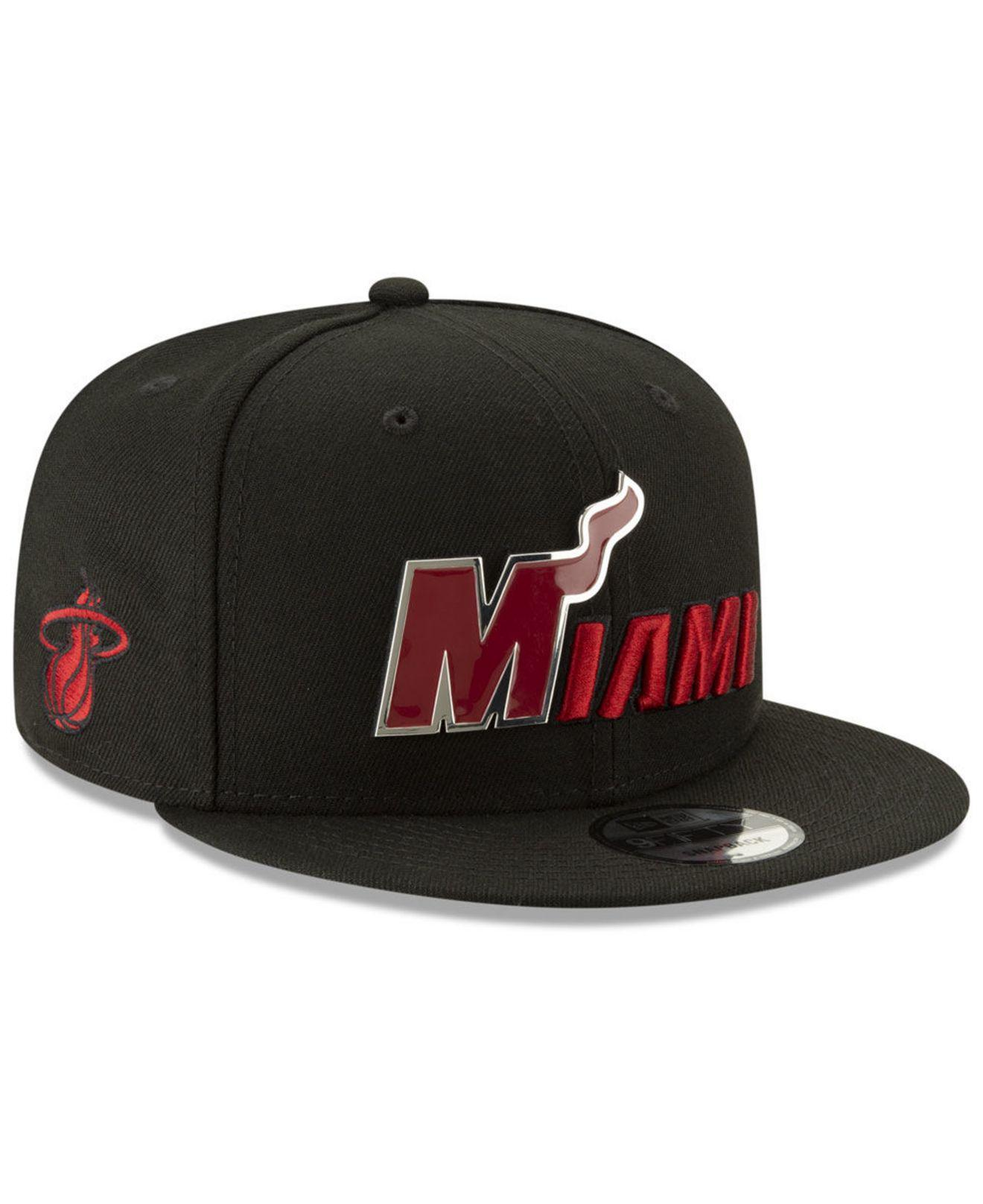 new product 0b94c 7d300 Lyst - Ktz Miami Heat Enamel Script 9fifty Snapback Cap in Black for Men