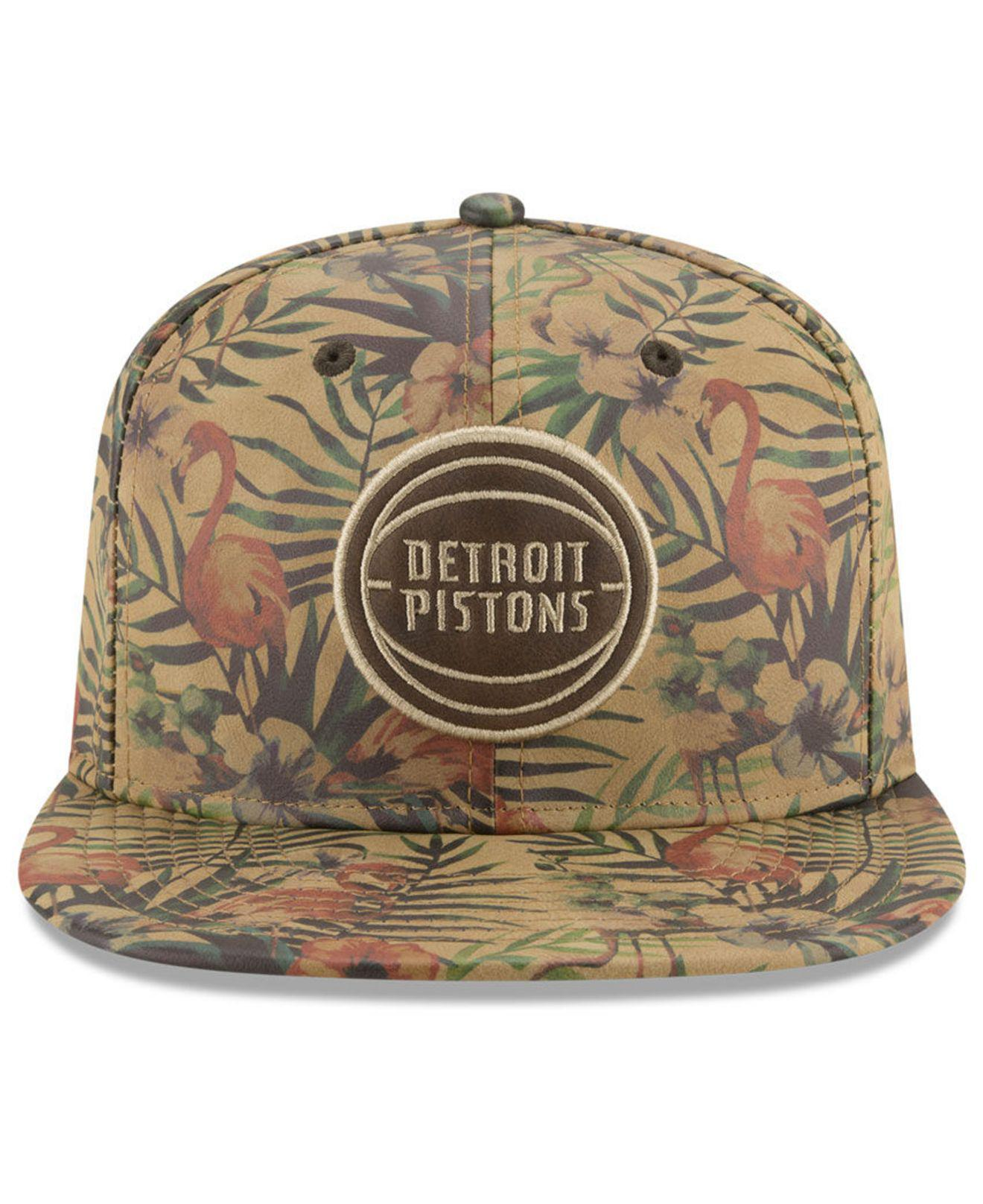 promo code 589fe bbde8 KTZ Detroit Pistons Smoove Leather 9fifty Snapback Cap for Men - Lyst